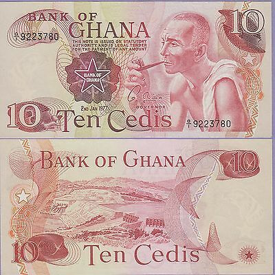 Ghana 10 Cedis Banknote 2.1.1977 Uncirculated Condition Cat#16-E-3780