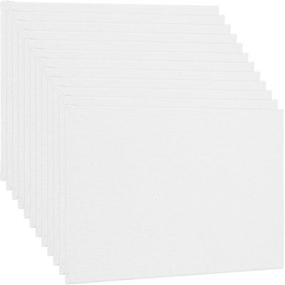 "Blank Cotton Canvas Panels 11""x14"" 12 PK Mounted Art Boards Paint Supplies Craft"