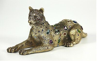 "Jay Strongwater Leopard Shamar 18K Antique Gold Finish Lrg Swarovski 6"" Long New"