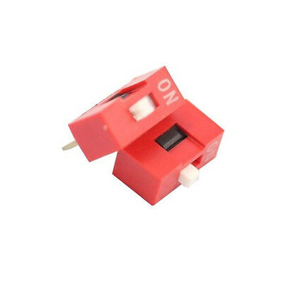 100PCS Red 2.54mm Pitch 1-Bit 1 Positions Ways Slide Type DIP Switch