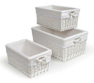 Badger Basket Set of Three White Nursery Baskets w/Liners 0095W New