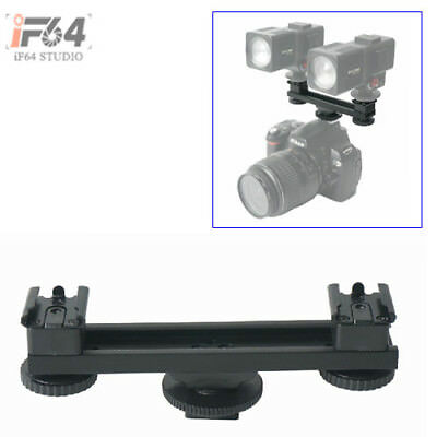 New Hot Shoe Extension Bar Dual Mount Bracket For DV Camera LED Light Mic SLR