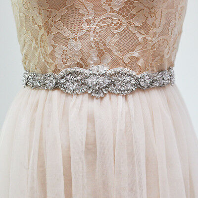 S234 Vintage Rhinestone Sash Belt Bridal Pearl Crystal Wedding Dress Sash Belt