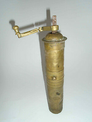 Vintage Primitive rare Antique Brass Ottoman Coffee Spice Grinder Mill Crank