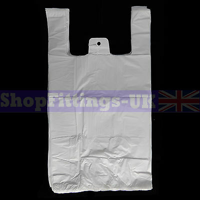 """200x White Plastic Vest Carrier Bags For Stalls shopping/Retail Bags 11""""x17""""x21"""""""