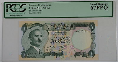(1975-92) Jordan Central Bank 1 Dinar Note SCWPM# 18a PCGS 67 PPQ Superb Gem