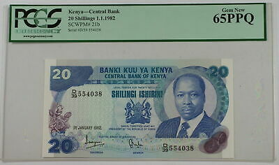 1.1.1982 Kenya Central Bank 20 Schillings Note SCWPM# 21b PCGS 65 PPQ Gem New