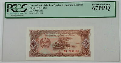 (1979) Laos 20 Kip Note SCWPM# 28a PCGS 67 PPQ Superb Gem New