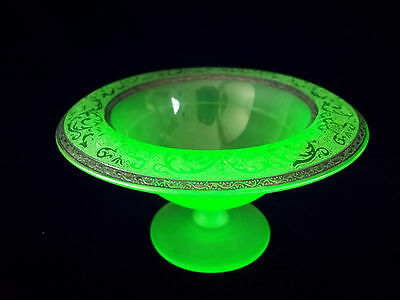 Amazing Vaseline Pedestal Bowl Vaseline Green with Silver edge Border