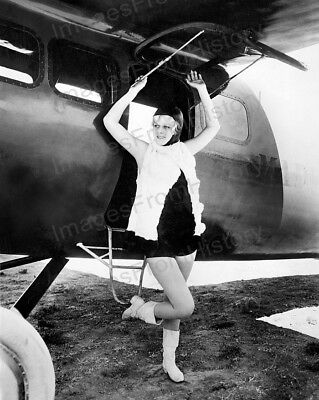 8x10 Print Jean Harlow Leggy pose with Aircraft #JH640
