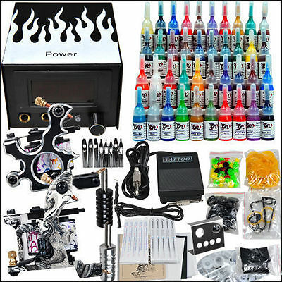Professional Complete Tattoo Kit 2 Top Machine Gun 40 Inks Power Supply