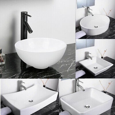 Aquaterior® Bathroom Porcelain Ceramic Vessel Sink Home Vanity Basin Popup Drain