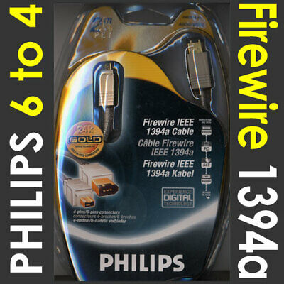 2m Philips Firewire IEEE1394 DV Cable 6 to 4 pin (PC to DV out) [001324]