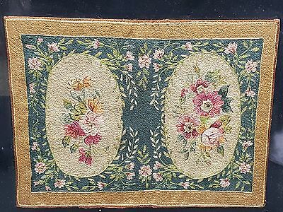FRAMED FINE ANTIQUE LATE 18 c. CONTINENTAL FLORAL NEEDLEPOINT EMBROIDERY