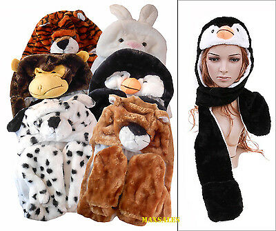 New Plush Animal Hats with Mittens scarf handwarmer Kids Adult Women hat paws