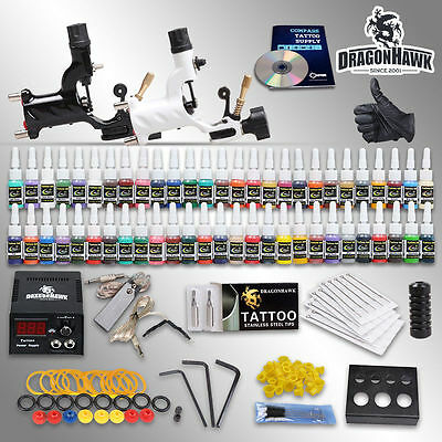 Professional Complete Tattoo Kit 2 Top Rotary Machine Gun 54 Color Inks