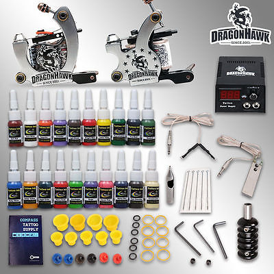 Professional Complete Tattoo Kit 2 Top Machine Gun 20 Inks Power Supply