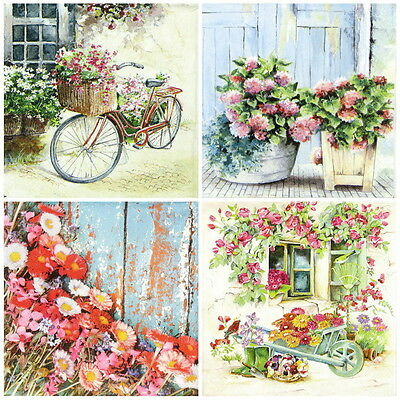 4x Flower Garden Mix Paper Napkins for Decoupage Craft,