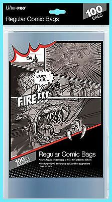 "100 ULTRA PRO REGULAR SIZE COMIC BOOK BAGS New Storage 7-1/8"" x 10-1/2"" Sleeves"