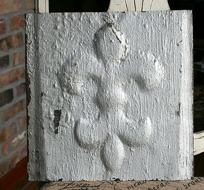 "12"" Antique Tin Ceiling Tile -- Rusty Silver  Colored Paint -- Fleur De Lis - A2"