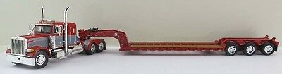 Dcp 1/64 Peterbilt 379 Day Cab Opt.red W/ Gray Seminole Stripes And Red Low Boy