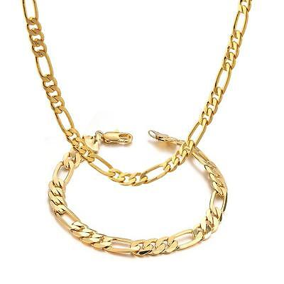 Mens 14k Yellow Gold Plated 24in Figaro Chain Necklace 5.6 MM & Bracelet Set