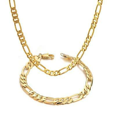 Mens 18k Yellow Gold Plated 24in Figaro Chain Necklace 5.6 MM & Bracelet Set
