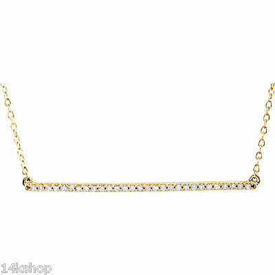"14kt Yellow, White or Rose Gold 1/6 TCW Long Diamond Bar 16"" to 18"" Necklace NEW"