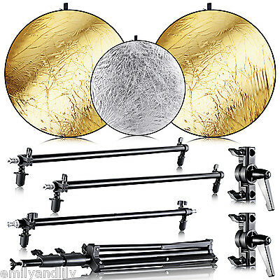 Neewer Collapsible Gold/Silver Panel Reflector Stand Kit for Photography Studio