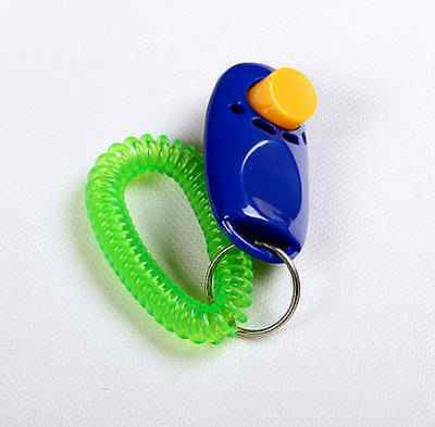 Animal Dog Cat Bird Horse Pet Training Clicker Obedience Aid + Wrist Strap JD