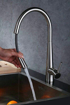 Kitchen Sink Bar Faucet Brushed Nickel Finish Brass Mixers Pull Out Basin Taps