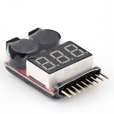 1-8S Lipo Battery Voltage Meter Checker Tester Warning Buzzer Alarm RC Heli Car