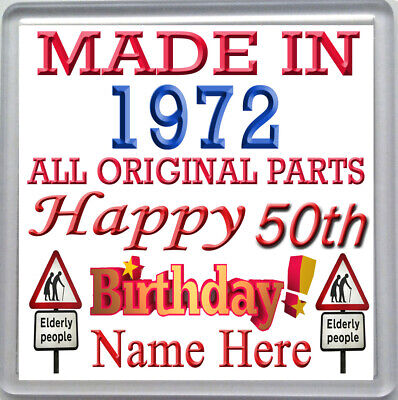 HAPPY 50th BIRTHDAY DRINKS COASTER CELEBRATION GIFT PERSONALISED WITH NAME 1968