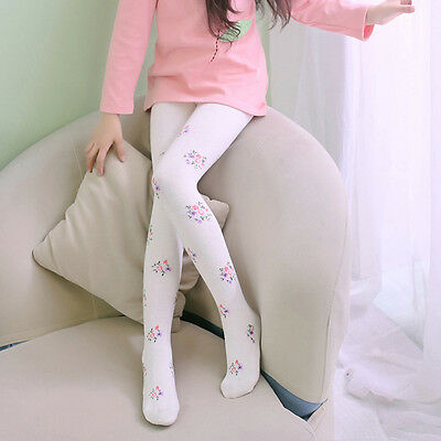 New Kids Girls Tights Floral Footed Pantyhose Stretch Cotton Ballet Stocking