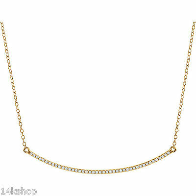 "14kt Yellow, White or Gold 1/6 TCW Curved Diamond Bar 16-18"" Necklace NEW"