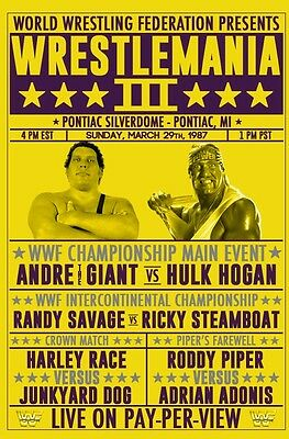 Wrestlemania 3 1987 Andre The Giant Hogan Retro Wrestling Poster A4 8x11 WWF