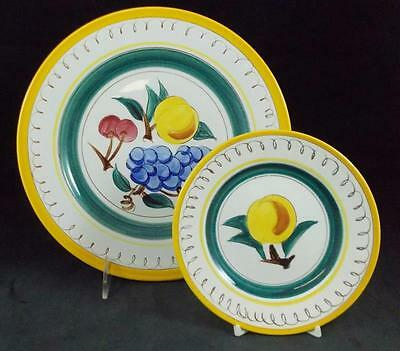 Stangl FRUIT Yellow Trim Dinner Plate + 2 Bread & Butter Plates GOOD CONDITION