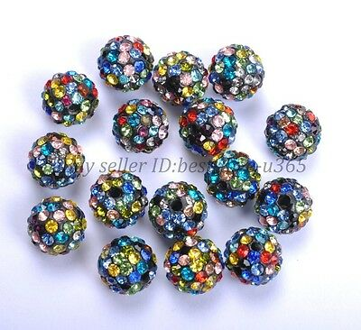 20Pcs Crystal Rhinestones Pave Clay Round Ball Spacer Beads 8MM 10MM 12MM