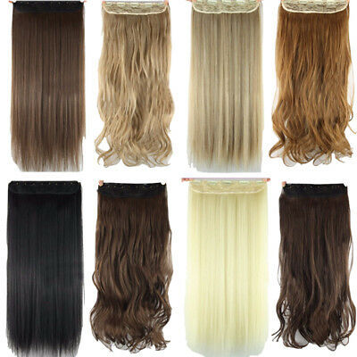 "24""Synthetic straight/curly one piece hair extensions 3/4Full head clip in"
