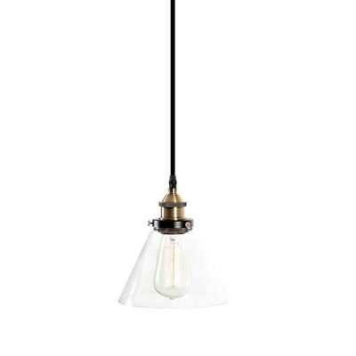 Vintage Industrial Brass Pendant Light Retro Cord Ceiling Lamp Clear Glass New