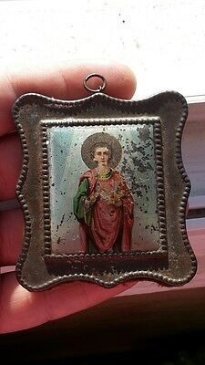 RR Rare Russian Imperial icon St. Great Martyr Panteleimon 19th century