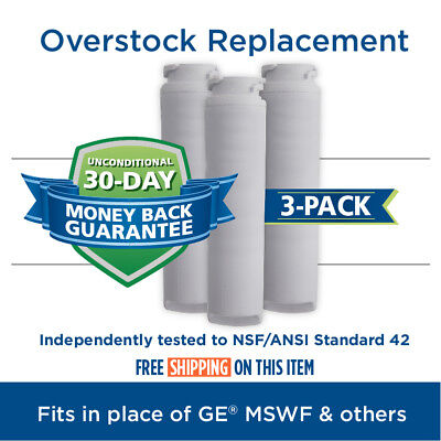 Tier1 MSWF Replacement for GE MSWF SmartWater Refrigerator Water Filter 3 Pack