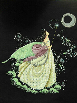 "LARGE New Completed finished cross stitch needlepoint""MOON FAIRY""home decor"