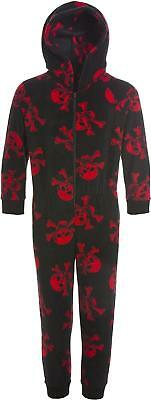 Camille Childrens Unisex Black And Red Skull Print All In One Pyjama Sleepsuit