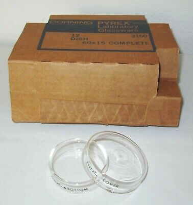 12 NEW Corning 3160 Glass Pyrex Petri Dish Dishes Top Cover & Bottom 60x15 mm