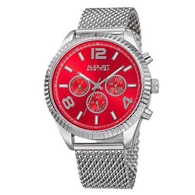 August Steiner AS8196RD Day Date GMT Mesh Bracelet Stainless Steel Mens Watch