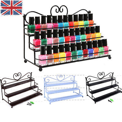 Nail Polish Display Rack Organizer 3 Tier Heart Metal Wall Mounted Stand Holder