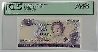 (1981-85)New Zealand Reserve Bank $2 Note SCWPM# 170a PCGS 67 PPQ Superb Gem New