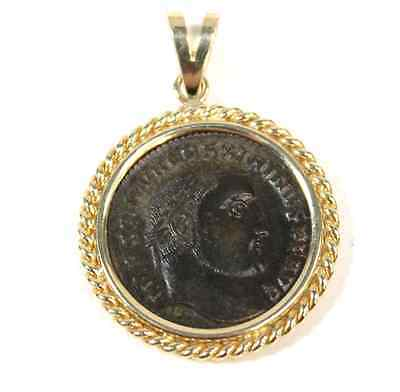 Ancient Roman Bronze Coin Emperor Maximianus Pendant 14kt Yellow Gold Setting
