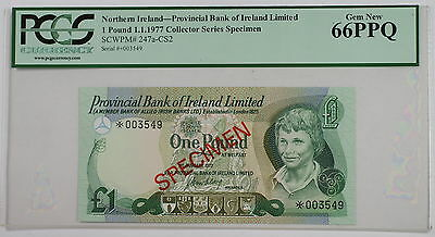 1977 Northern Ireland 1 Pound Specimen Note SCWPM# 247a-CS2 PCGS 66 PPQ Gem New